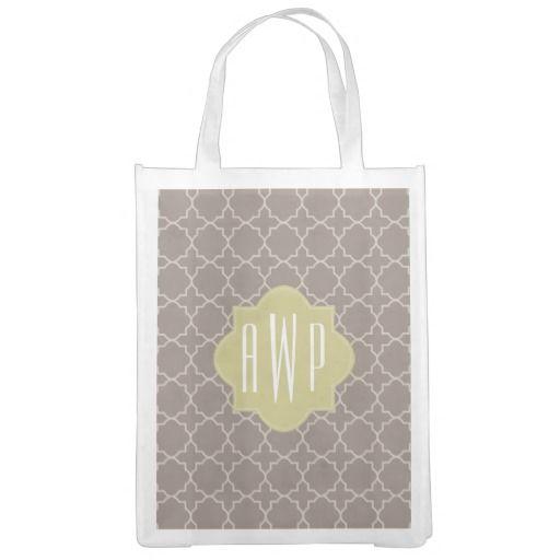 daae51bd7a4e Green Brown Quatrefoil Monogram Grocery Bag