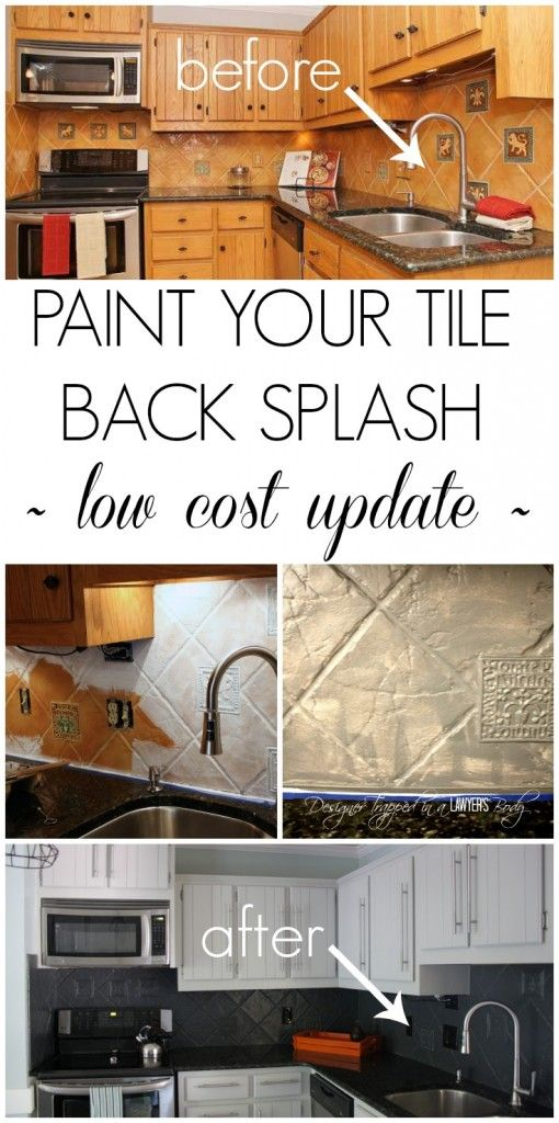 Info's : MUST PIN!  You can PAINT your tile backsplash! Talk about a thrifty update. Full tutorial by Designer Trapped in a Lawyer's Body.