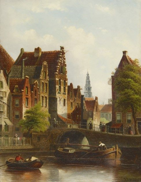 Johannes Franciscus Spohler (Rotterdam 1853-1894 Amsterdam) A view on the Grimnessesluis, Amsterdam - Dutch Art Gallery Simonis and Buunk Ede, Netherlands.
