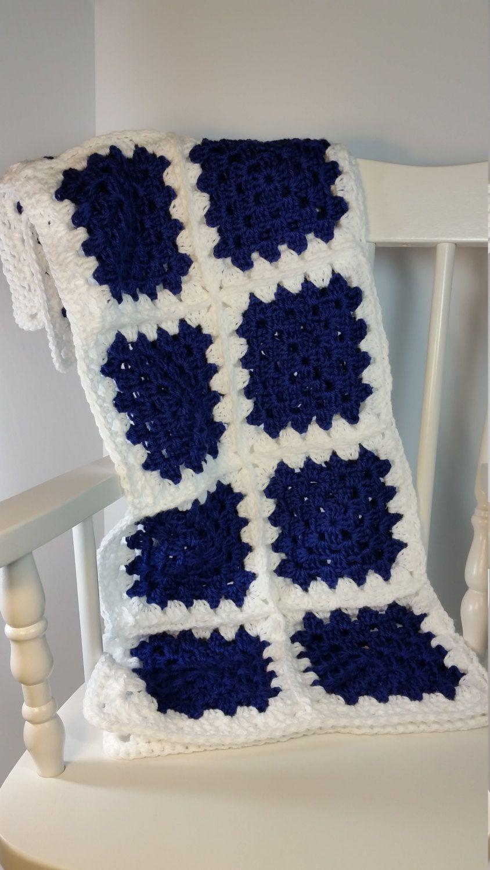 Crochet Baby Blanket Navy Blue White Granny Square Stroller Size Car ...