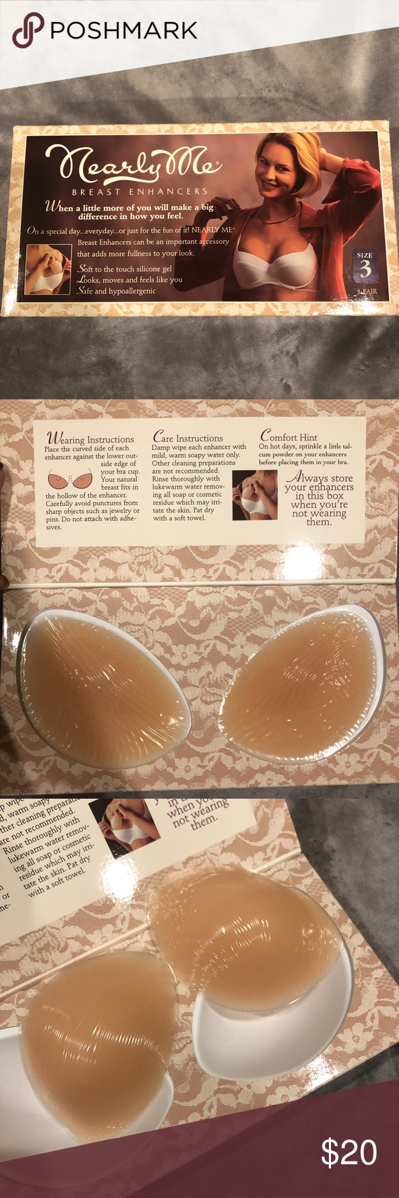 44dce3213d037 See pictures for more detailed description from manufacturer. Nearly Me  Intimates   Sleepwear Bras. Silicon Breast Enhancers ...