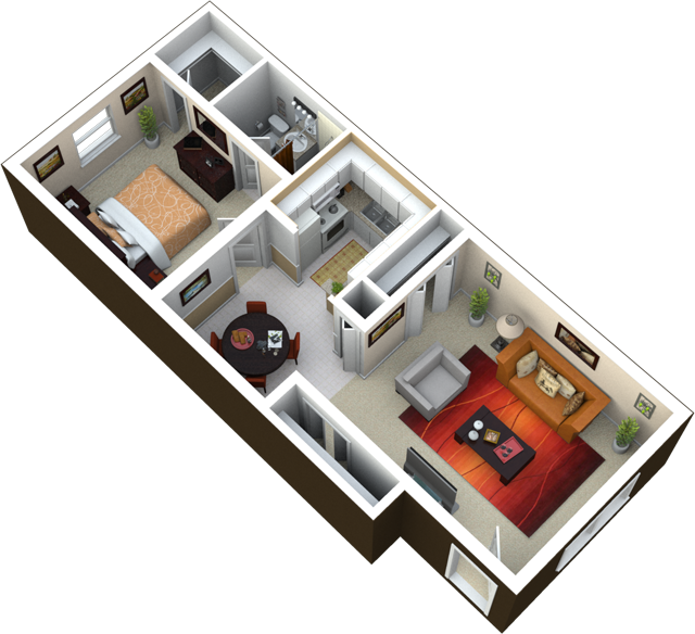 700 Sq Ft 1 bedroom | 1 bath | 700 sq ft this is a great floor plan with
