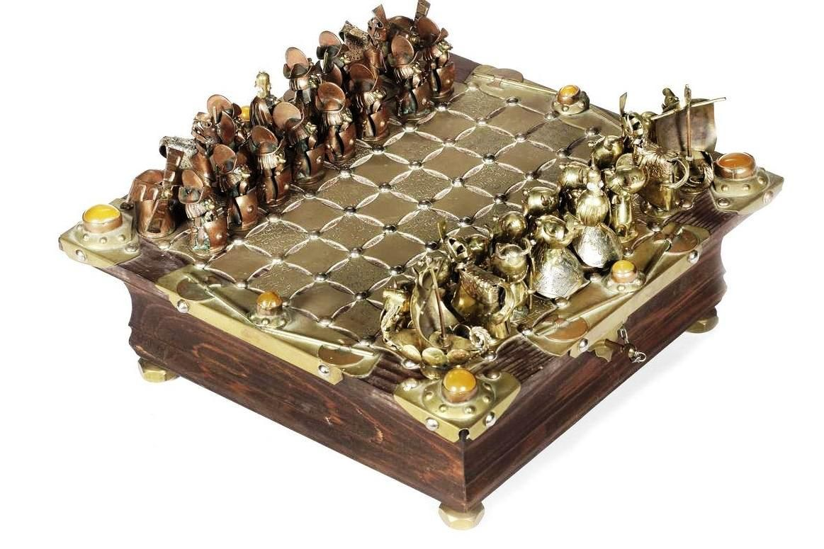 A Figural Art Metal Chess Set And Board By Andrzej Nowakowscy Warsaw Poland Metal Chess Set Viking Chess Chess