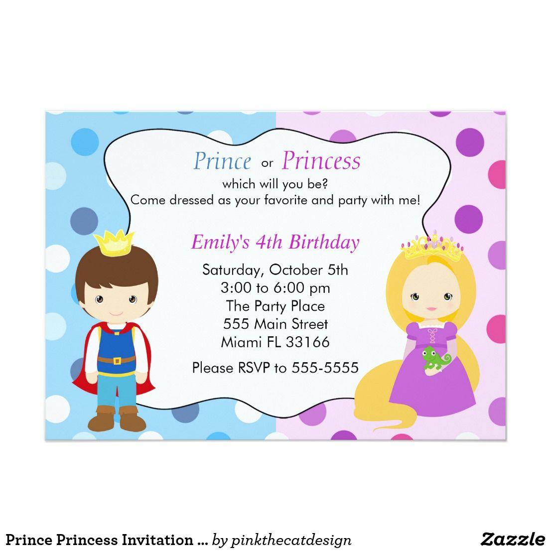Prince Princess Invitation Kids Birthday Party | Princess ...