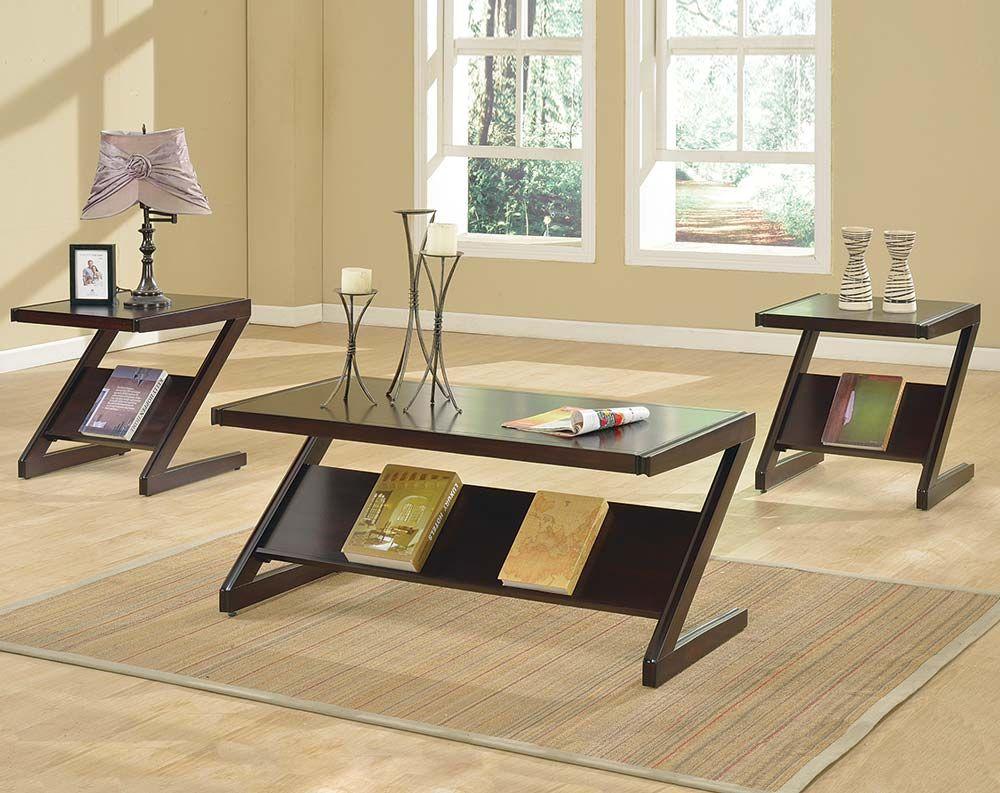 Espresso Z Shaped Coffee End Tables Zachary 3 Piece Table Set Coffee Table Table Chair Side Table [ 793 x 1000 Pixel ]