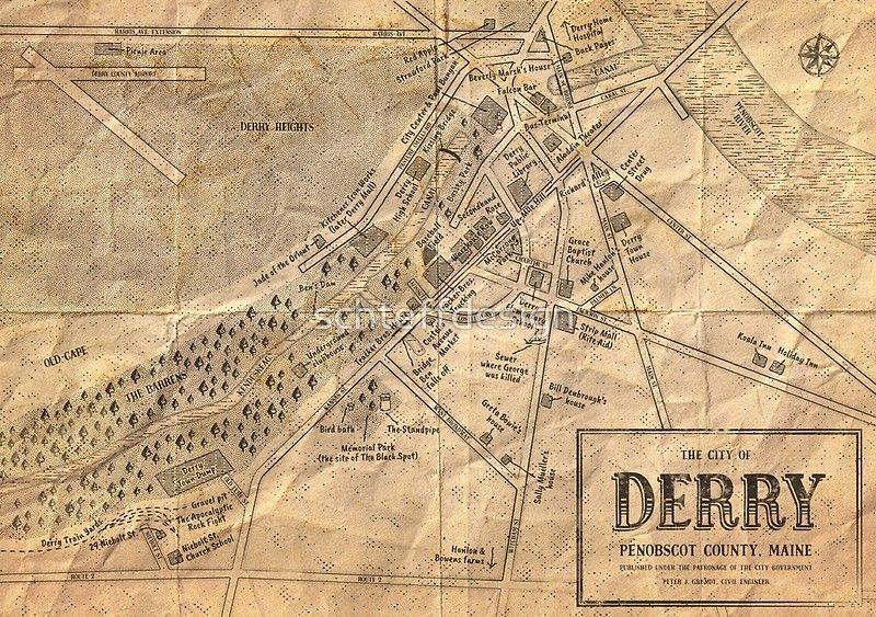 Map of Derry Maine  Stephen Kings IT von schteffdesign
