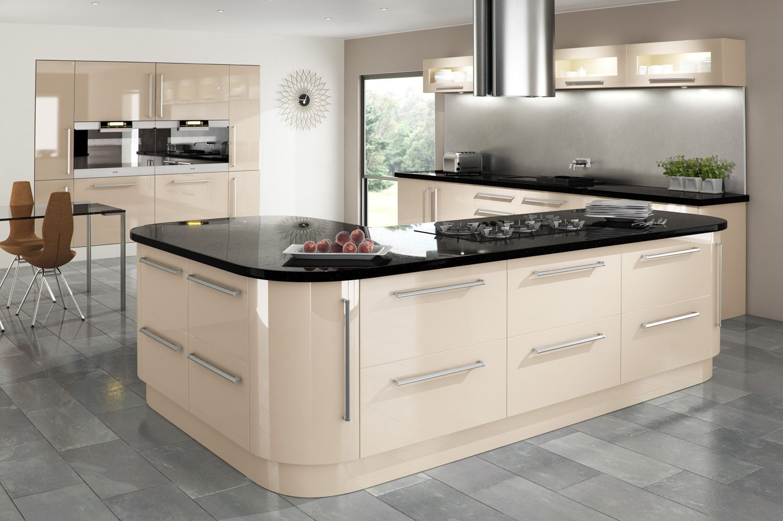 cream gloss kitchen with integrated handle and granite worktop ...