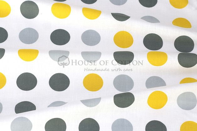 Gray & yellow dots cotton fabric | Grey yellow, Diy design and Toile