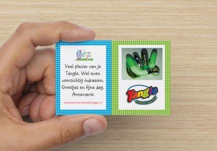 Nieuw visitekaartje voor mijn Tangle-verkooppunt.