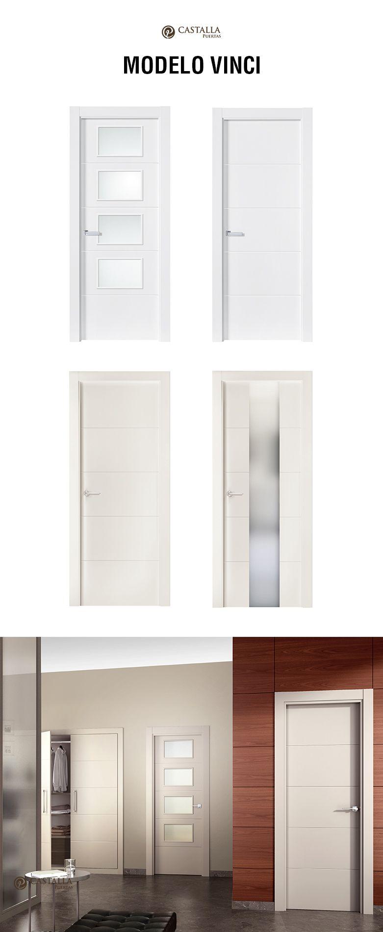 Puerta de interior con cristal modelo vinci puertas - Puertas interior cristal ...