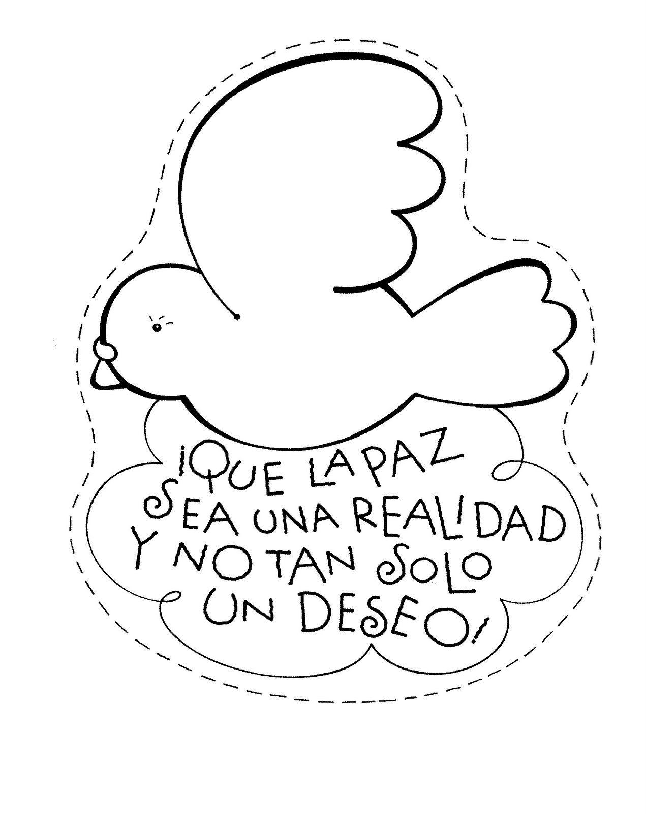 dibujos para colorear, dia de la paz, colorear la paz ...