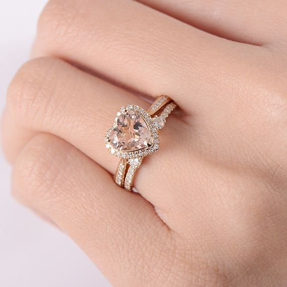 Yellow Gold Engagement Ring Heart Shaped Morganite Bridal Set Etsy In 2020 Heart Shaped Engagement Rings Heart Wedding Rings London Blue Topaz Engagement Rings