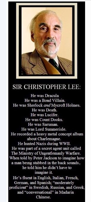 Christopher Lee Famous Actor Also Served Our Country In The Military Chuck Norris Concept Album Lotr