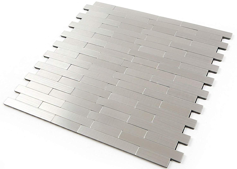 5 Ft2 Amazon Com Roserosa Peel And Stick Tile Metal Backsplash For Kitchen Wall Tiles Aluminum Surface Metallic Backsplash Peel And Stick Tile Wall Tiles