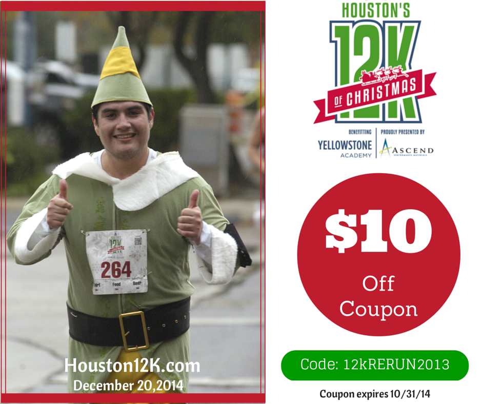 dont miss our 10 off registration coupon for houstons 12k of christmas fun run - 12k Of Christmas