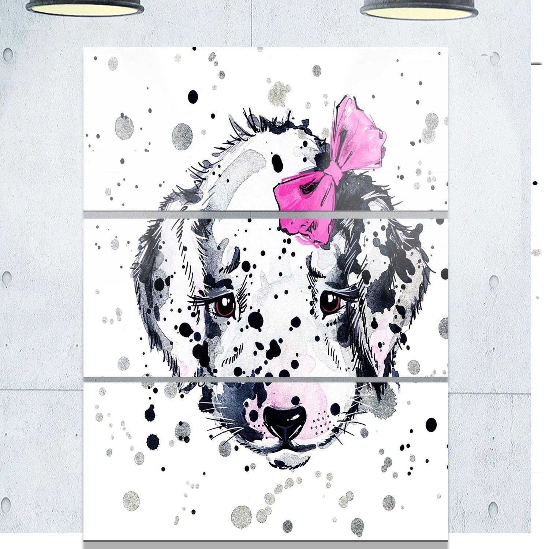 Designart 'Funny Dog with Glasses' Contemporary Animal Art