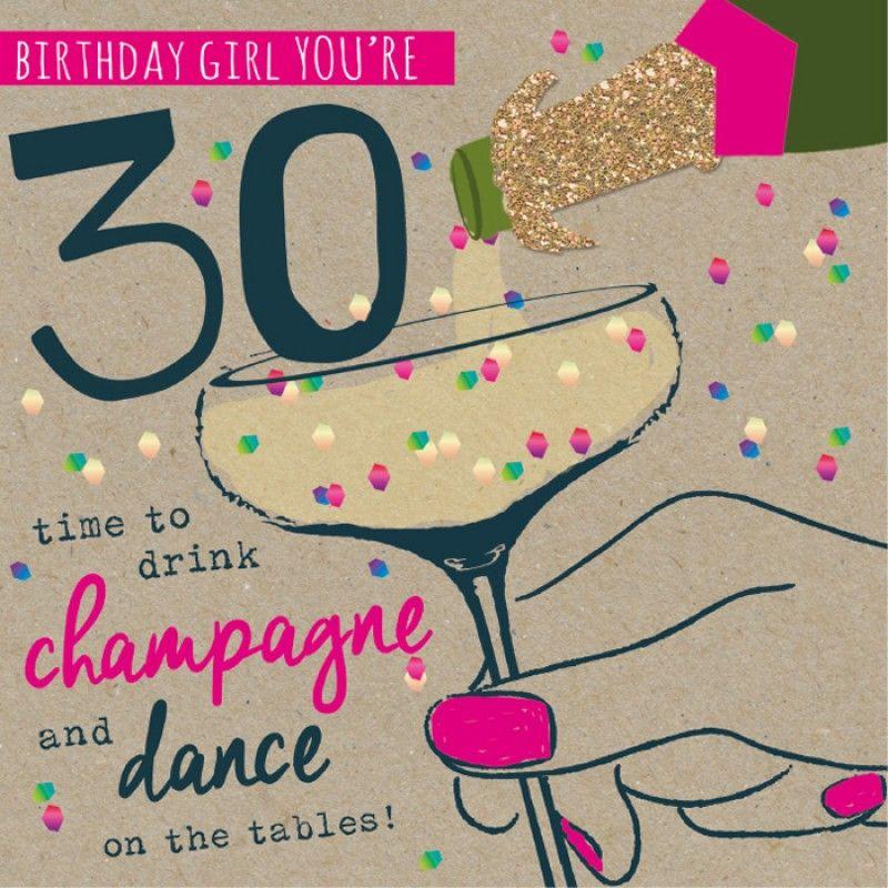 female happy 30th birthday card cute bear design