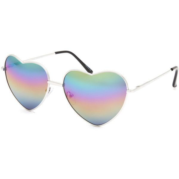 3a3d5377e Full Tilt Rainbow Heart Aviator Sunglasses ($9.99) ❤ liked on Polyvore  featuring accessories, eyewear, sunglasses, glasses, hearts, silver, rainbow  glasses ...