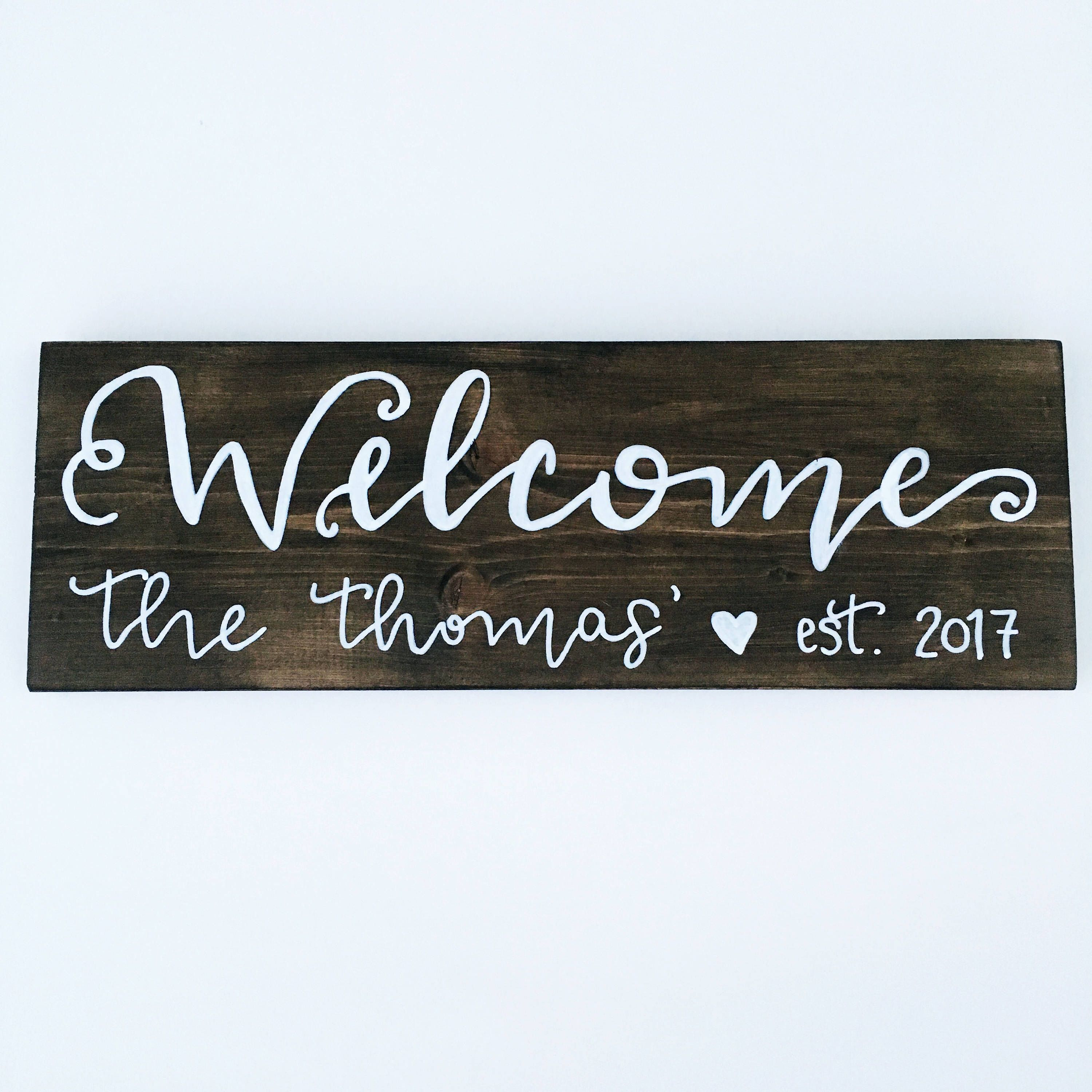 Hand Painted Lettered Custom Welcome Sign Last Name Closing Gifts For Ers Them