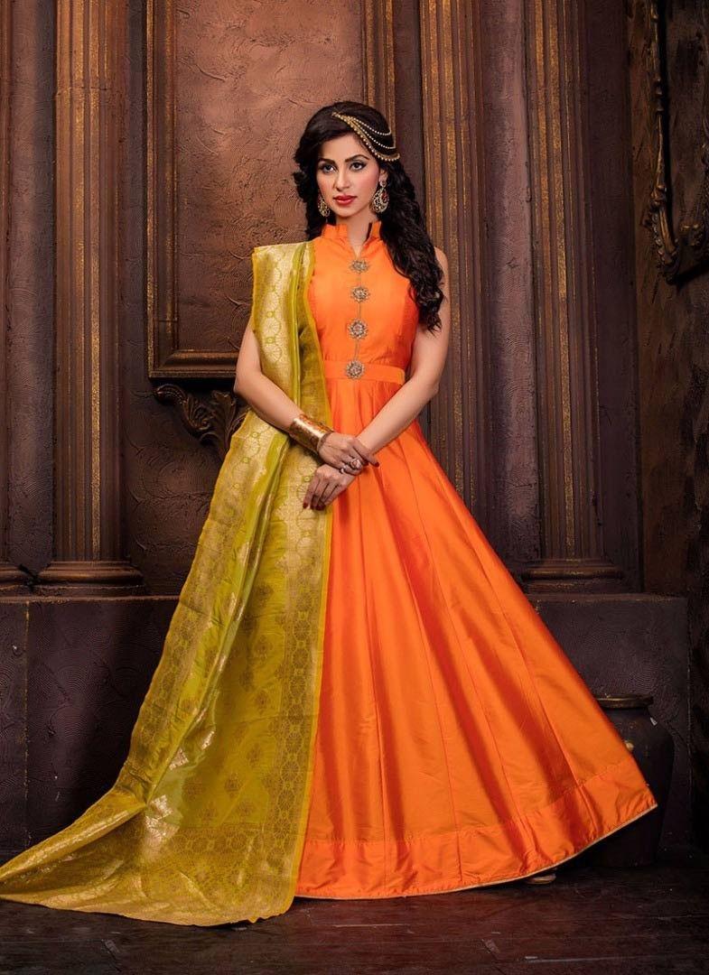 654335443ebd4 Orange maxi style Indowestern anarkali dress with silk odhni