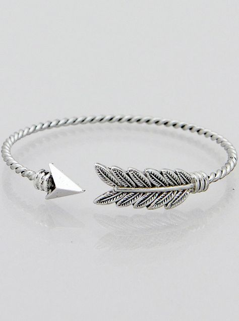 Twisted arrow bracelet with detailed feather design ...