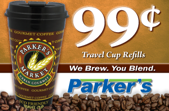Parker's Travel Cup, filled with your choice of extras to