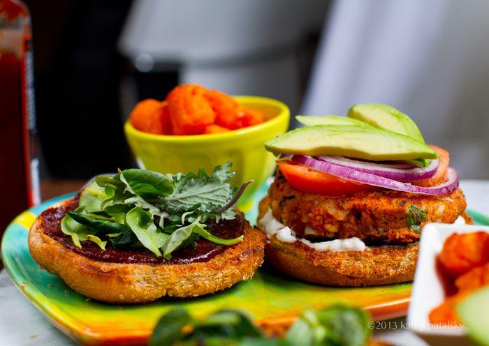 Spin on Sweet Potato Veggie Burgers: BBQ Peanut.--- oh dear, going into vegan overdrive...
