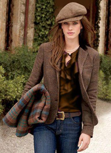 Shop this look on Lookastic: https://lookastic.com/women/looks/blazer-long-sleeve-blouse-skinny-jeans-flat-cap-belt/13472 — Brown Flat Cap — Brown Wool Blazer — Brown Ruffle Long Sleeve Blouse — Dark Brown Leather Belt — Navy Skinny Jeans