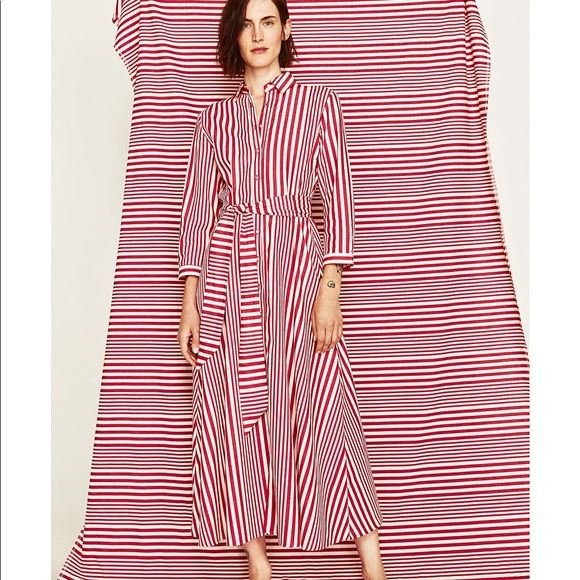 91b9614d242 Shop Women s Zara Red White size L Maxi at a discounted price at Poshmark.  Description  Red and white alternating stripe shirt dress with menswear  collar ...