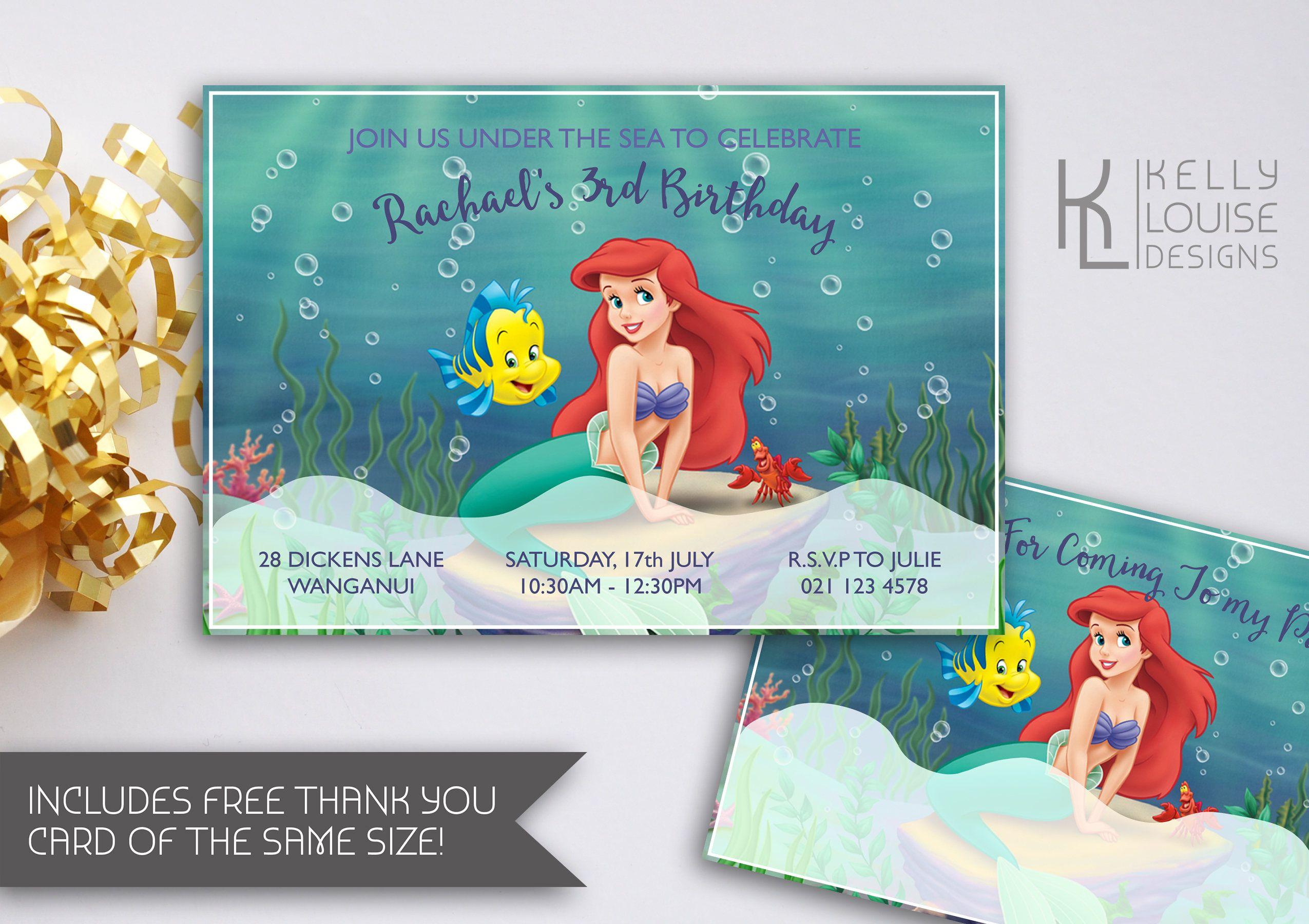 The little mermaid birthday invitation little mermaid party