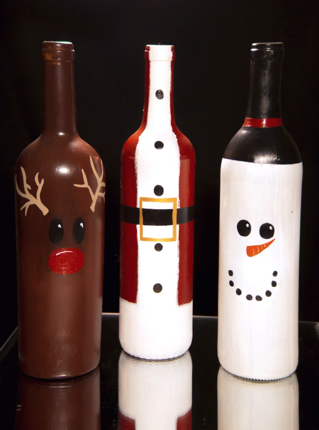 Christmas wine bottle decorations diy etsy fun stuff for Cool things to do with a wine bottle