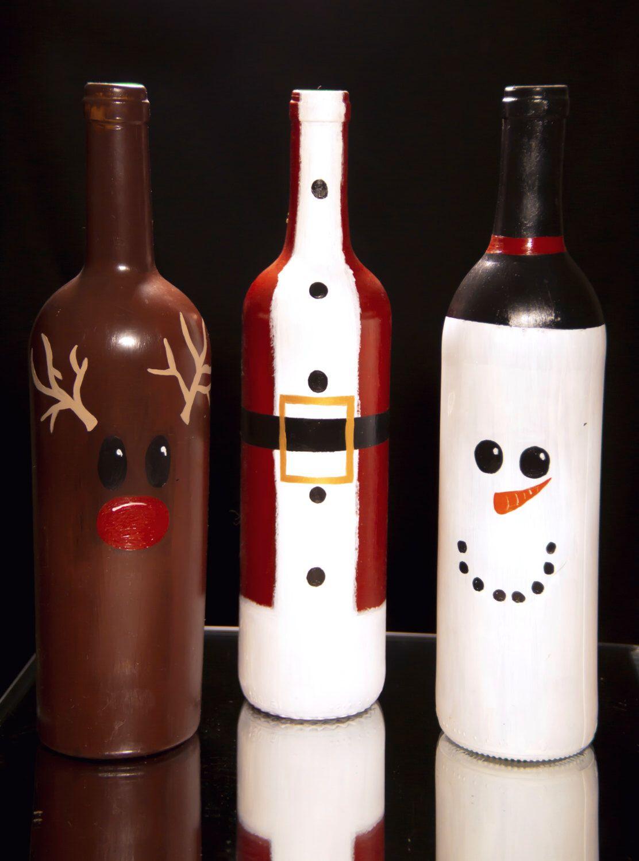 Christmas Wine Bottle Decorations Diy Etsy Wine Bottle Christmas Decorations Bottle Crafts Bottles Decoration Diy