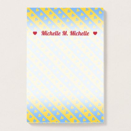 Name Yellow Blue Hearts and Stripes Pattern Post-it Notes - sample notes