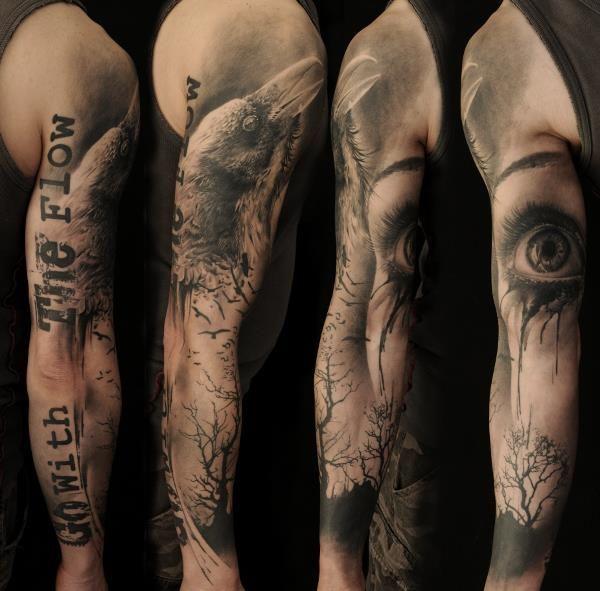 73 Eye and brid full sleeve tattoo