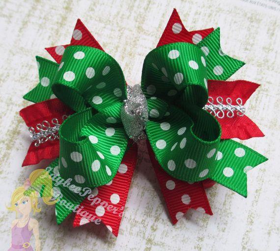 Christmas Hair bow Holiday hair clip green polka dots silver sparkles red tinsel small boutique headband xmas dress gift present girls cute #holidayhair