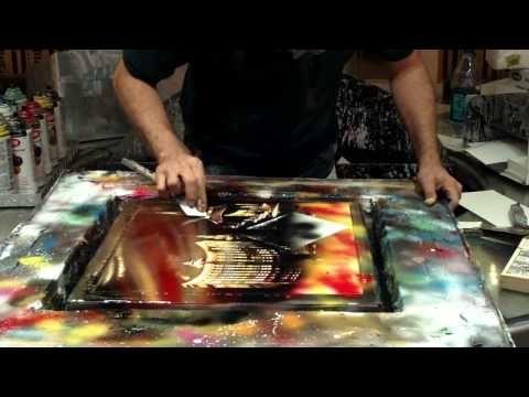 Spray Painting Artist At Work In Fremont Street Las Vegas By