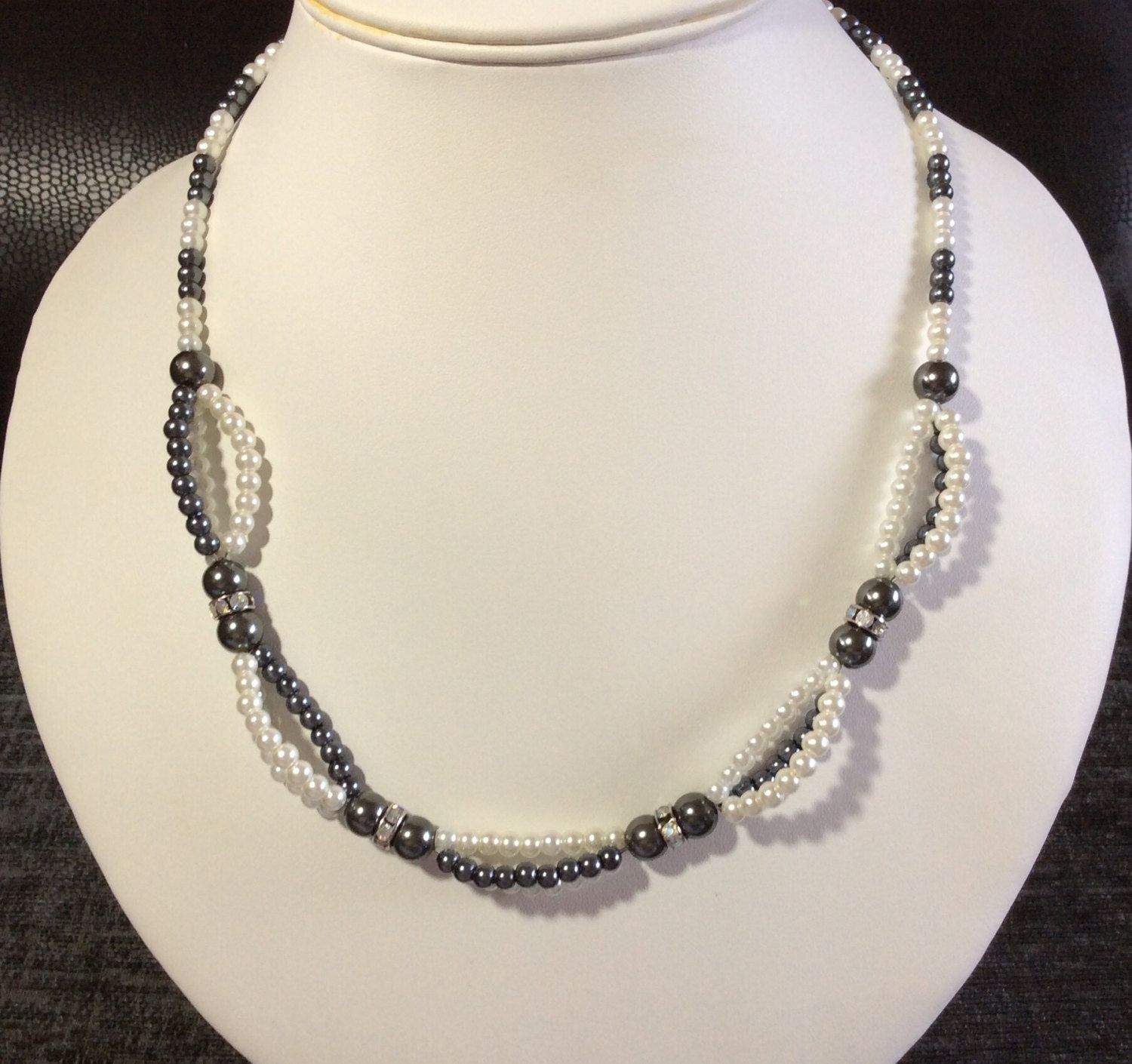 Grey & White shell pearl necklace pearl jewellery