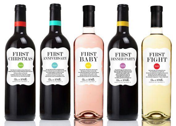 Wine Basket Wedding Gift: 5 Custom Married First Wine Labels For Bridal Shower Or