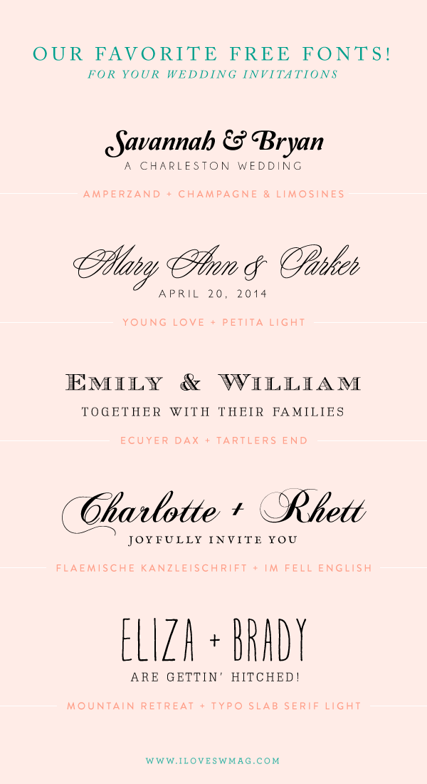 Our favorite free font combinations for wedding invitations paper our favorite free font combinations for wedding invitations stopboris Images