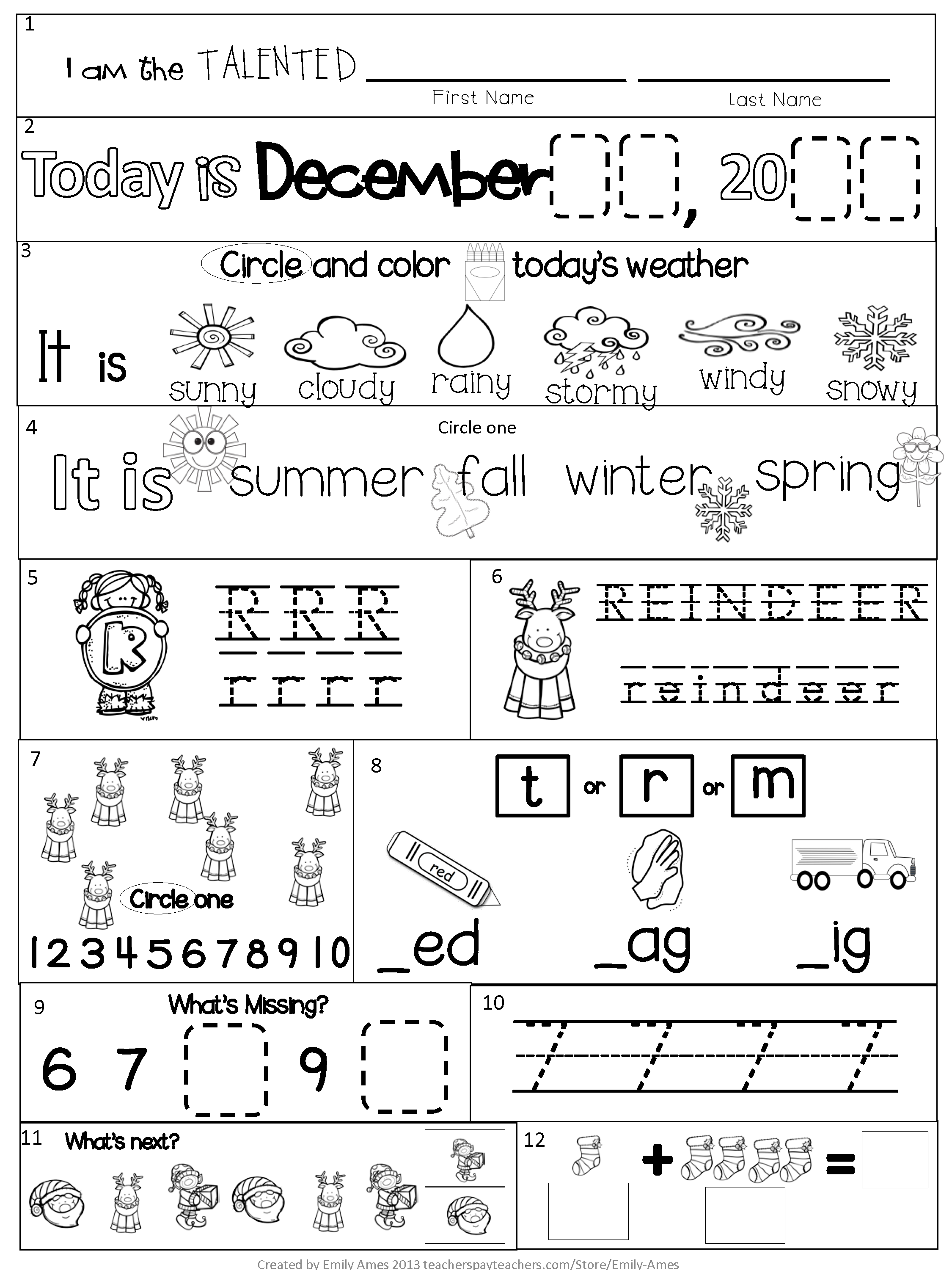 Morning Work Kindergarten December Packet Winter Common