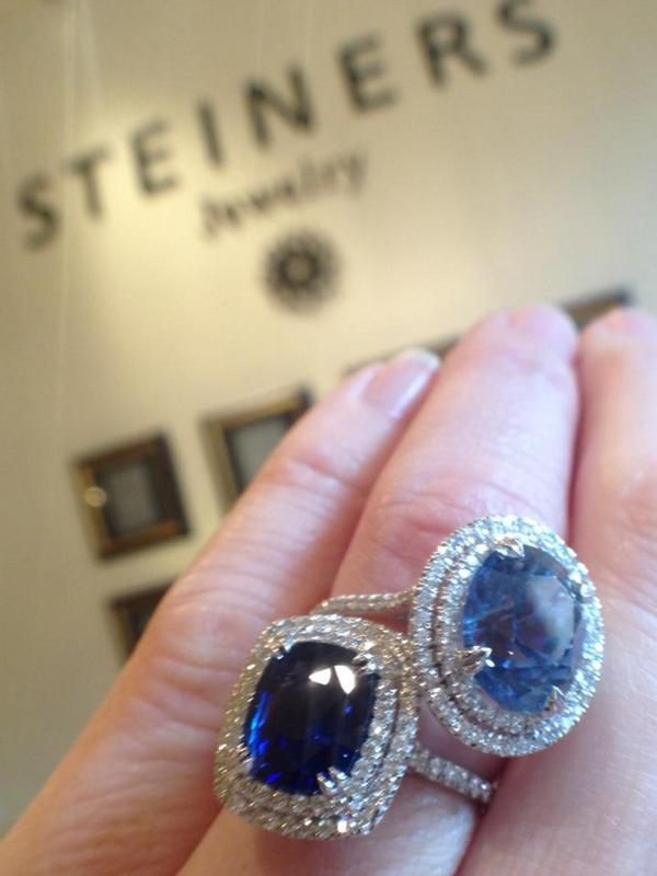 Sapphire and diamond rings handmade by Steiners Jewelry. #Shopsmall! #SmallBizSat!