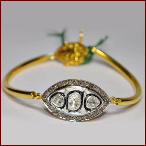 1 35 ct Natural Diamond Vintage Victorian Art Deco Bracelet Bangle