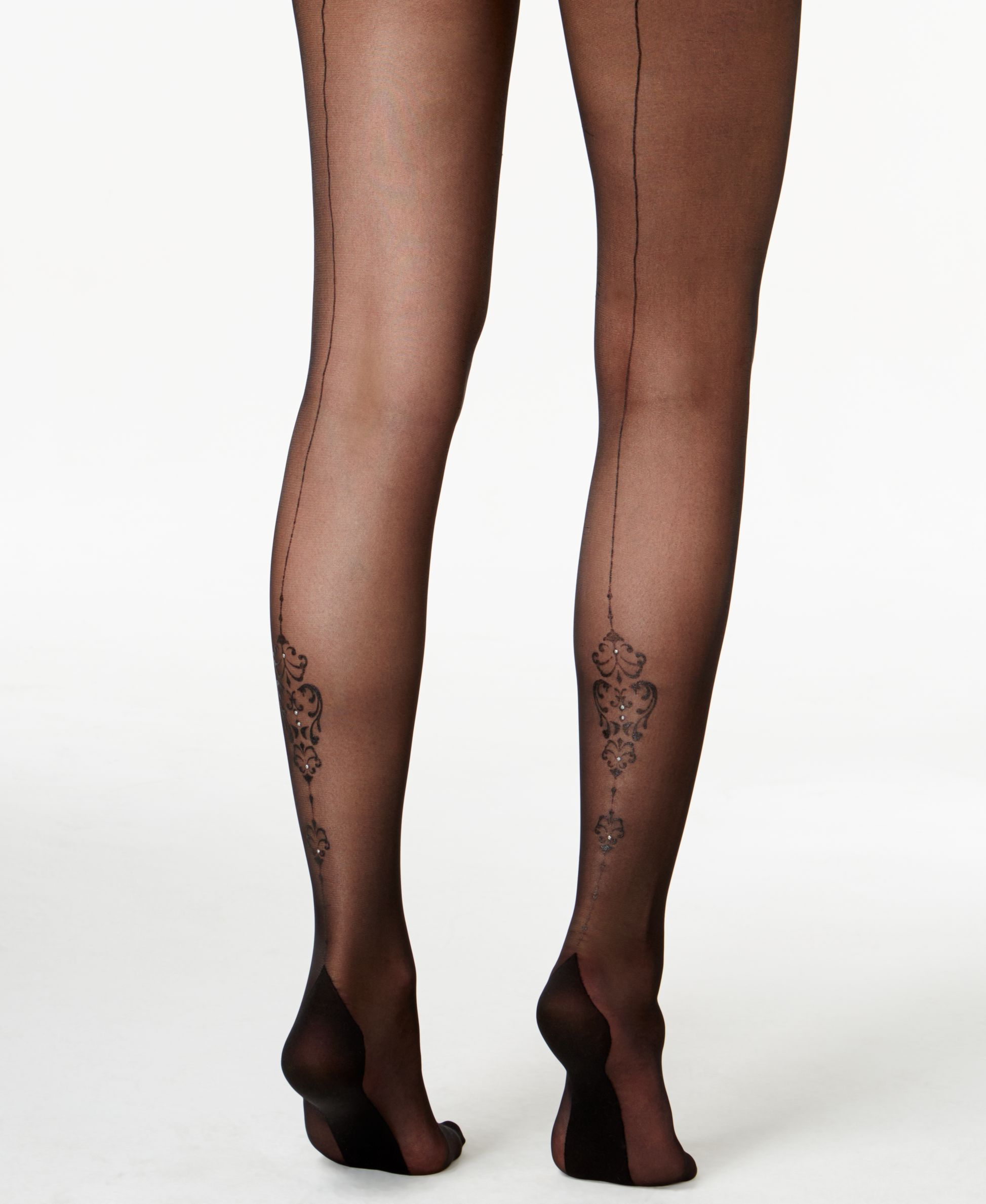 Pretty Polly Diamond Mesh Tights With Back Seam In Black By Pretty Polly