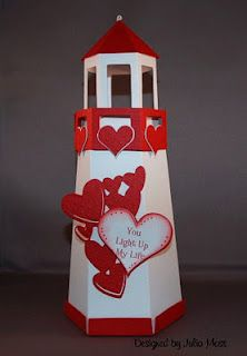 Paper lighthouse--kisses inside, battery operated tealight in top!!!