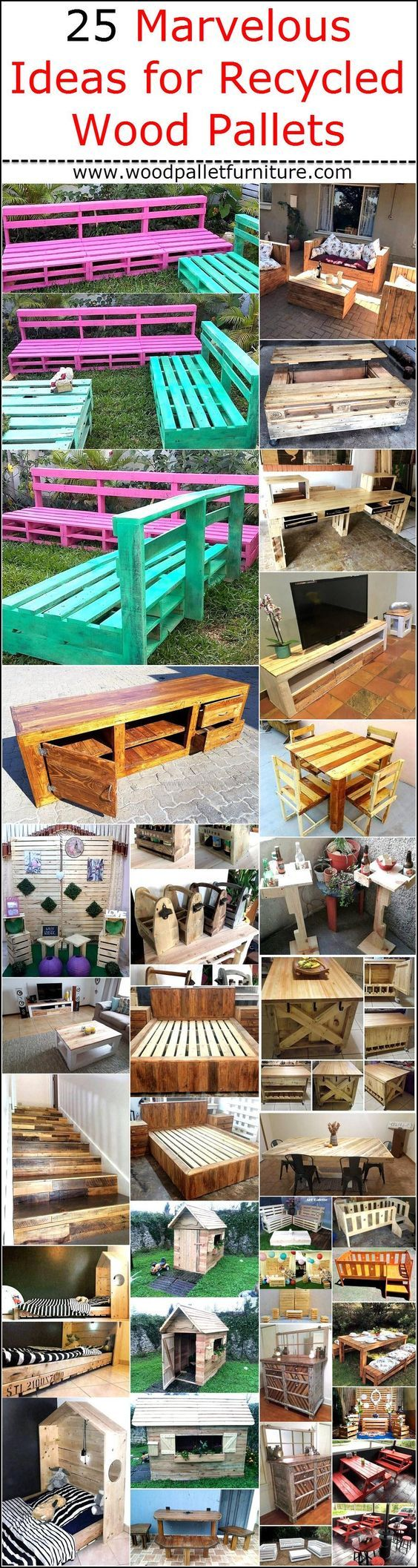 25 Marvelous Ideas for Recycled Wood Pallets #oldpalletsforcrafting