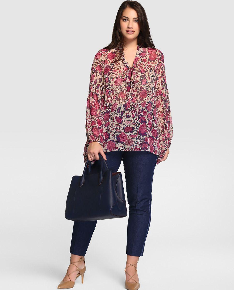 4f975e0727 Blusa de mujer talla grande Couchel con manga larga y estampado floral ·  Couchel · Moda · El Corte Inglés