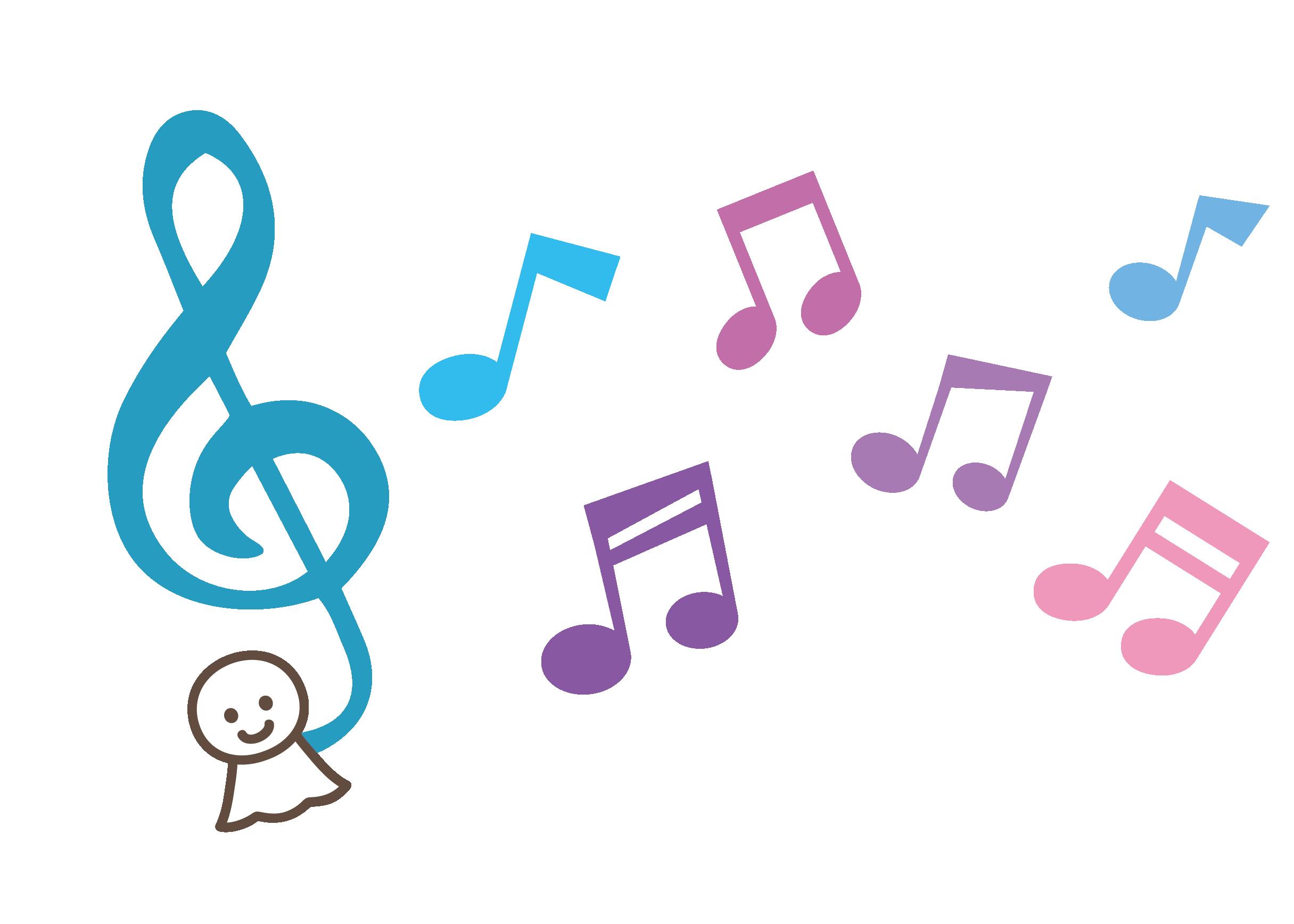 てるてる坊主ト音記号と音符イラスト ピアノ素材 無料 音符 イラスト