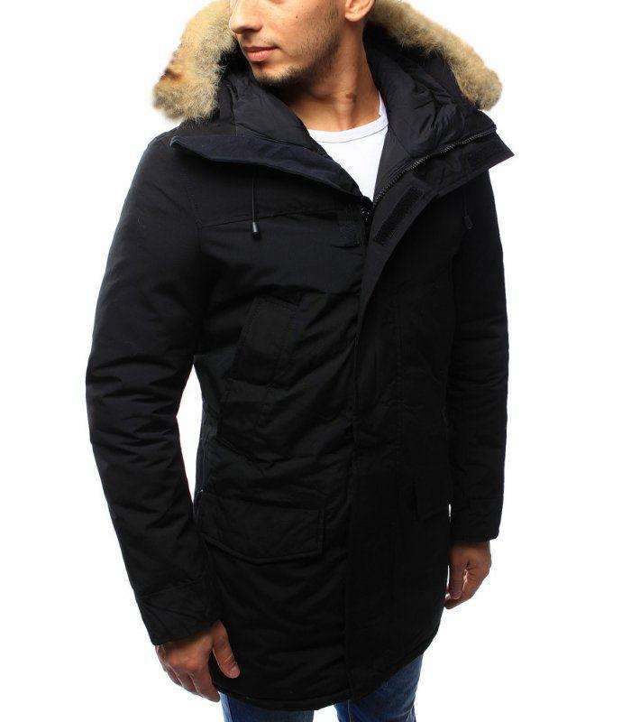 2e67454de9fe Pánska čierna zimná párka bunda