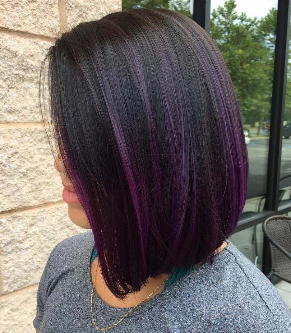 Blunt Bob With Purple Balayage Hair Color Purple Hair Color Dark Hair Styles