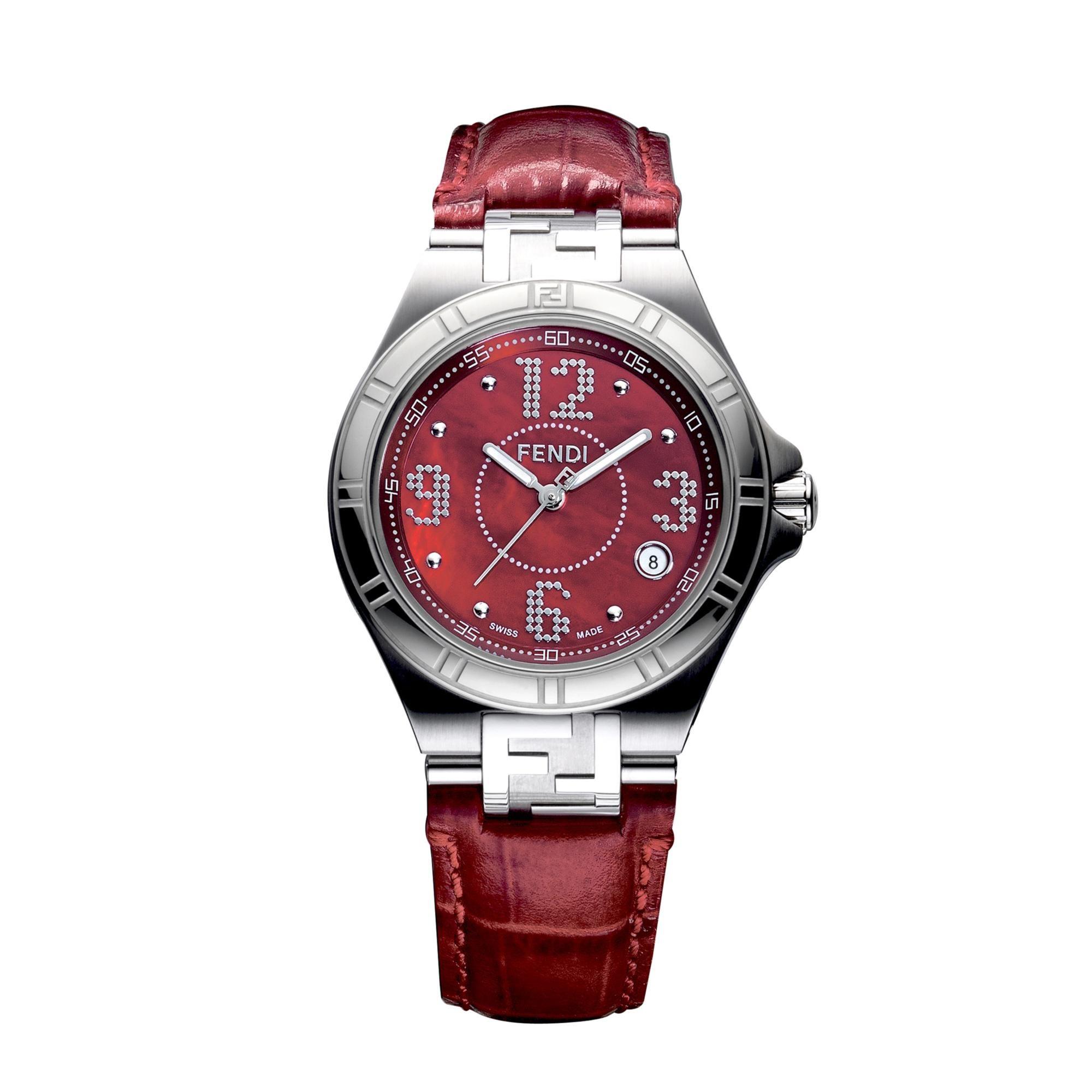 Fendi High Speed Analog Watch Steel Case Red MOP Dial Red Strap - F414377B